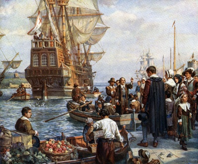 What is the name of the ship that brought the Pilgrims to America?
