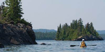 Which national park is a 45 mile island in the middle of Lake Superior?