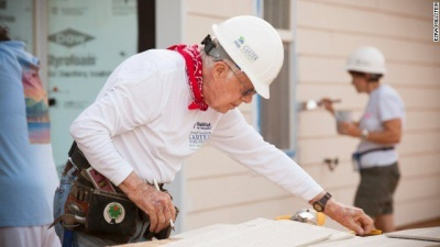 Which president, after leaving the White House, worked to build homes for the homeless?
