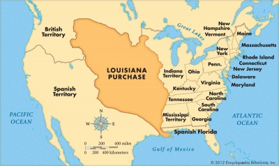 Which President authorized the purchase of the Louisiana territory in 1803?