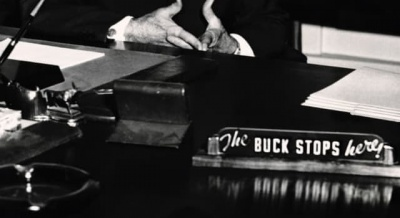 """Which President had a sign on his desk that read """"The BUCK STOPS here""""?"""