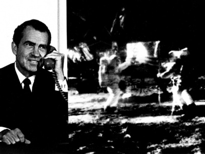 Which president spoke to astronauts on the Moon by telephone?