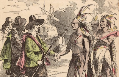 Who helped the Pilgrims in America?