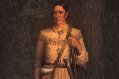 """Who was the famous hunter,  Indian fighter, army scout, and teller of tall tales who described himself as """"fresh from the backwoods, half horse, half alligator, a little touched with the snapping turtle?"""""""